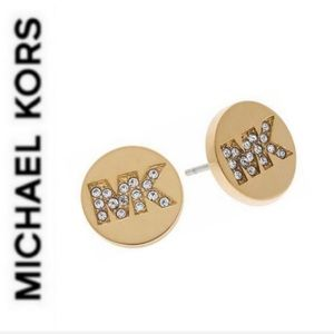 NWT authentic MK gold tone stone logo studs